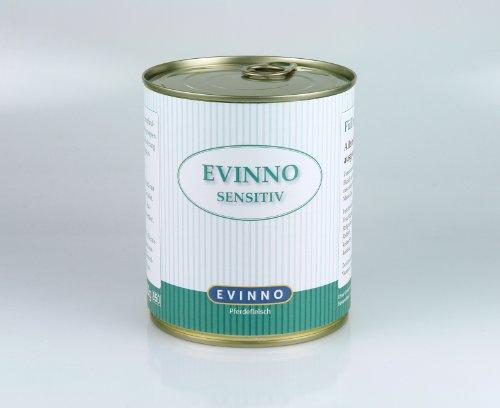 Evinno Sensitiv Pferdefleisch 12 x 800 g Dose Single Protein Nassfutter Hundenahrung Schonkost für den sensiblen Hund oder auch bei Futtermittelunverträglichkeit