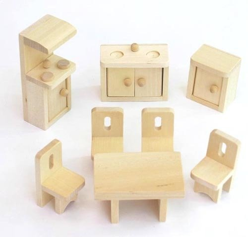 Freda Mobili per casa delle bambole in legno 28 Pezzi + Fodere