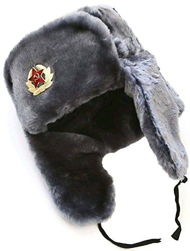 Hat Russian Soviet Army Gray KGB * Fur Military Cossack Ushanka * Size S