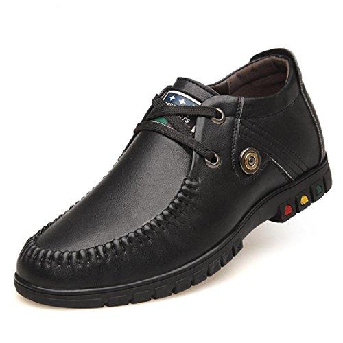 Hommes Baskets Activité Commerciale Chaussures En Cuir Anti-dérapant Augmente Les Chaussures Euro Taille 37-43 Noir