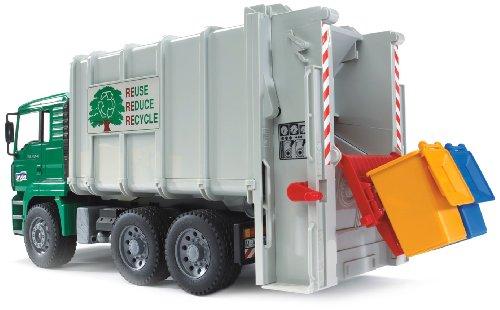 Preisvergleich Produktbild Bruder 02764 - MAN TGA Hecklader Müll-LKW, grün / weiß