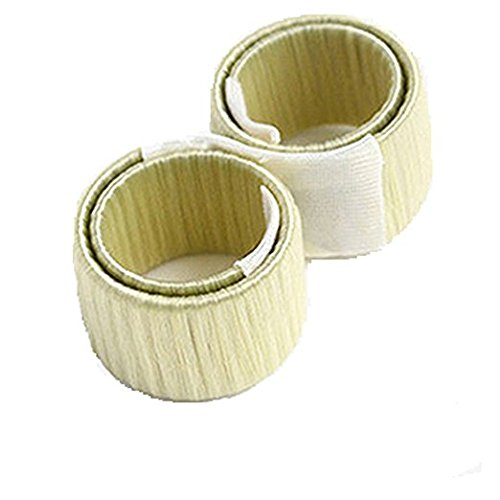 2Pcs Perruque de cheveux Bun Maker/ French Twist Bun Maker/ Donut Hair Piece Bob Maker Outil Cheveux Beige
