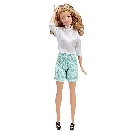 E-TING Handarbeit Fashion Puppenkleider Rock Büro Stil Outfits Kleid für Mädchen Puppen (White Satin Shirt + Green Pants)(Puppe Nicht enthalten)
