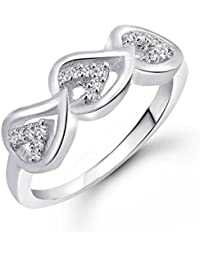 Vidhi Jewels Rhodium And Silver Plated Three Heart Alloy & Brass Finger Ring For Women [VFR266R]
