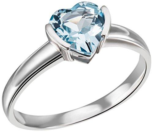 Goldmaid Damen-Ring Herz 375 Weißgold 1 hellblauer Topas