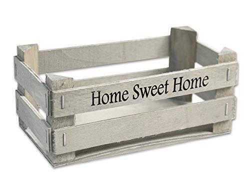 Vetrineinrete® set 2 cassette in legno decorazione casa cucina servi alimenti con scritta home sweet home shabby porta asciugamani accessori bagno portapiantine 17x17x9cm p41 (grigio chiaro)