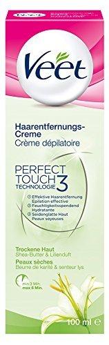 Veet Haarentfernungs-Creme für trockene Haut mit Shea Butter & Lilienduft, 3er Pack (3 x 100 ml) (Shea-butter Haut Creme)
