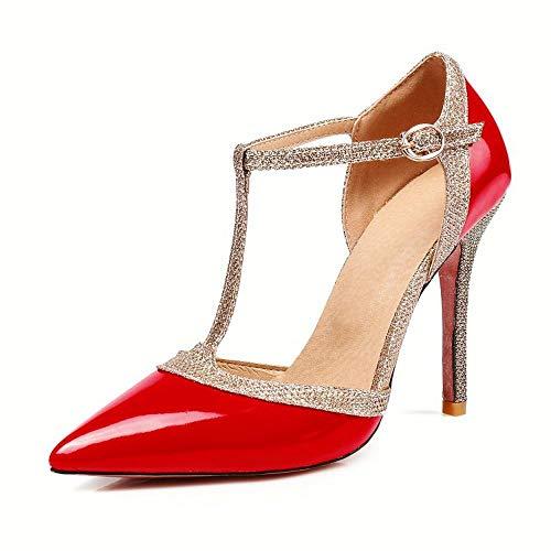 Mädchen Damen Gold Sparkly Glitter Charakter Bühnenshowtime Tanzschuhe Spitz T-Strap Schuhe Red-EU40 (Für Red Mädchen Schuhe Sparkly)