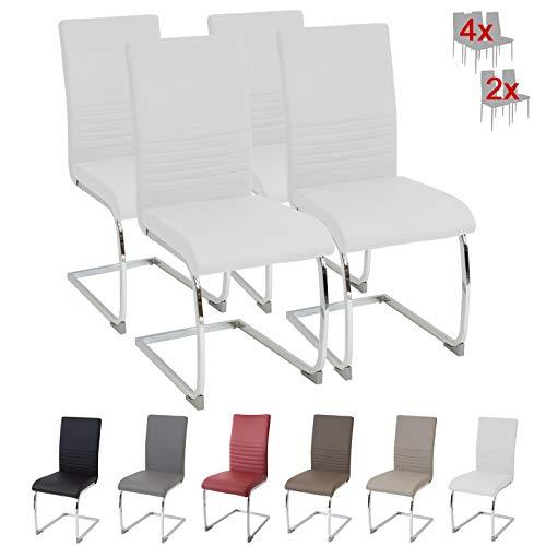 Albatros Silla Cantilever BURANO Set de 4 sillas Blanco, SGS Probado