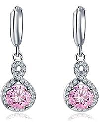2f4247568d40 Pendientes con Rosa Redondo Cristales austríacos de Zirconia 18k Chapado en oro  blanco para mujer