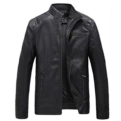 Veste Blazer Homme Casual Slim Fit Jacket en fourrure faux zippé Manches Longues Solide cuir moto