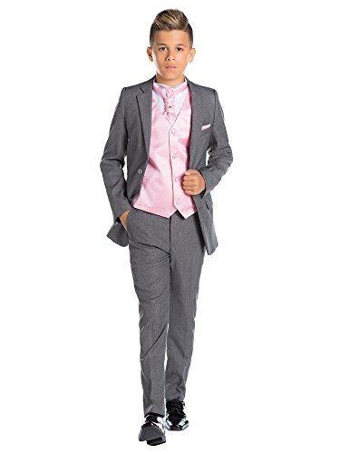 Paisley of London, Jungen Kostüm grau, Ende Kostüm nach Maß an, Seite Kostüm für Jungen, 12-18Monate-13Jahre-Satinfutter in der die Jacke-Slim Fit Modell-verschiedene Strass Weste, Krawatte & Taschentuch Set-100% Polyester.-Kostüm...