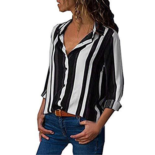 NEEKY Damenmode Striped Langarm Shirt Sale - Frauen Casual V-Ausschnitt Taste Gedrückt Tops Bluse(EU:36/CN:S, Schwarz) - Tyvek-shirts