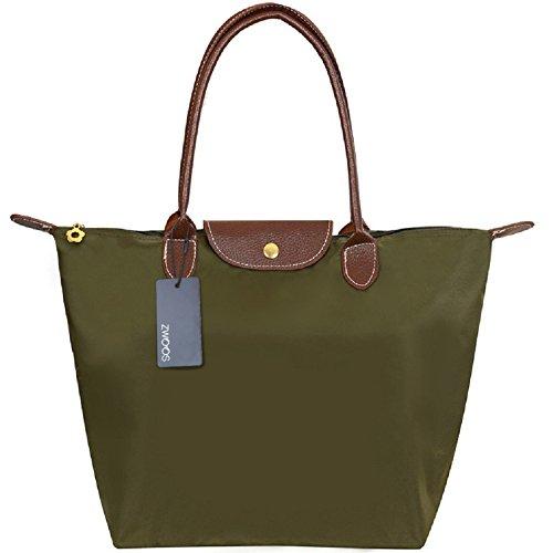 Nylon Damen Shopping Shopper Tasche – ZWOOS Frauen Stilvolle Wasserdichtes Handtasche Schultertasche Umhaengetasche Strand Tasche Schwarz (M, Vert) (Tasche Nylon Faltbare)