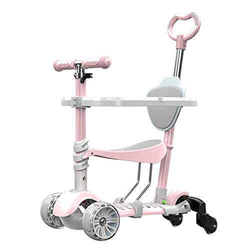 WQEYMX Scooter Plegable para niños Scooter, Scooter, Scooter para niños, Ruedas, Silla de Paseo (1-8) Scooter Three-in-One (Color : Pink)