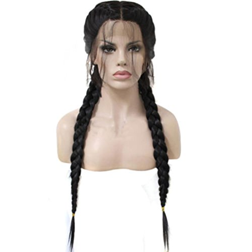 e Baby-Haar geflochtene Double Lace Front Perücke lange schwarze Ombre schwarze Perücken Charming lange volle lockige Perücke welliges Haar braun natürlich Damen Curly Perücke ()
