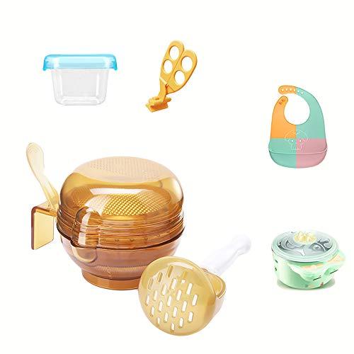 Baby Grinding Bowl Manuelle Anti-Rutsch-Babynahrung Masher Maker Waschbar NahrungsergäNzungsmittel Grinder-Tool-Set FüR Kleinkinder Kleinkinder,Yellow -