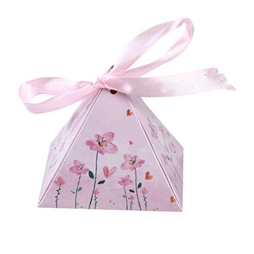 Yeucan 10 Stücke Aquarell Dreieck Cookie Box Geschenk Taschen Für Süßigkeiten Kekse Snack Backpaket Hochzeit Gefälligkeiten Geschenke Ostern Dekoration, Rosa (Gefälligkeiten Für Hochzeit-boxen)