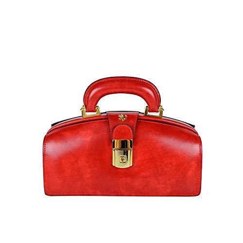 Pratesi Brunelleschi Italienische Radica Leder Aktentasche Stil. Handtasche (rot) -