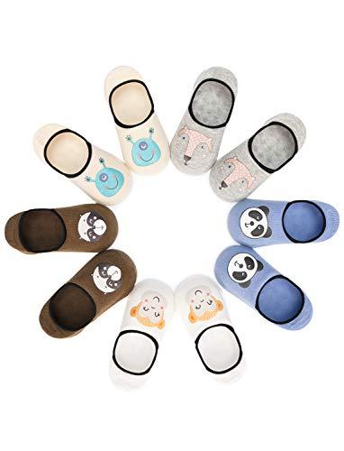 Adorel Jungen Sneaker Socken Unsichtbar Anti-Rutsch 5er-Pack Panda-Affe-Fuchs 1-2 Jahre/Gr. 19-22 (Herstellergr. S) (Socke Affen Machen)