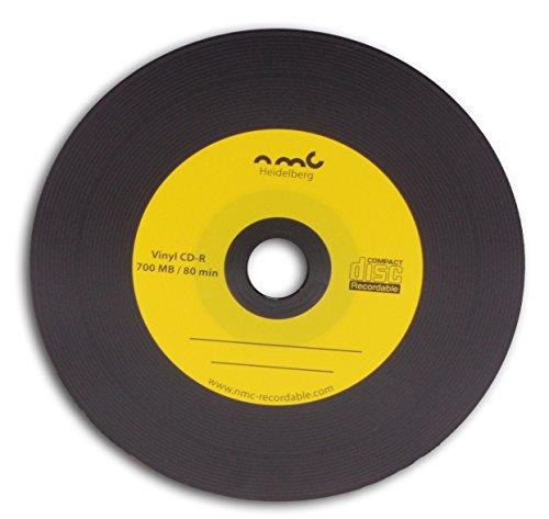 vinile CD-R NMC, Carbon Dye completo nero Retro CD vergine 700MB Giallo 50PZ per lungo tempo di archiviazione