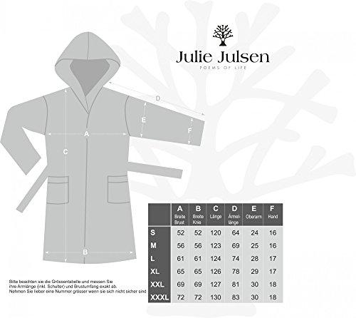 Julie Julsen flauschiger Bademantel für Damen & Herren in den Größen S-XXXL und aktuellen Farben - Saunamantel Morgenmantel Baumwolle Kapuze Royal Blau XL Silber