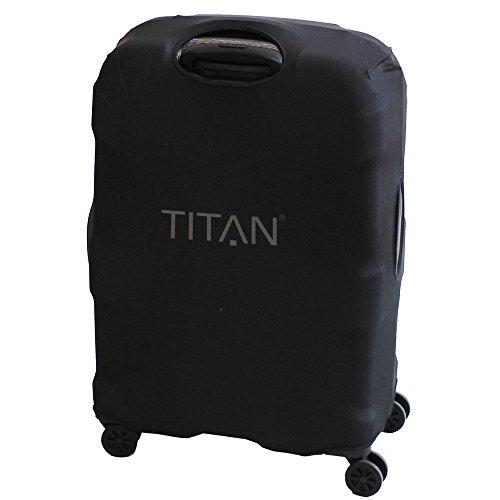 TITAN Luggage Cover UNIVERSAL - aus elastischem Spandex Polyester für 4-Rad Trolleys S, 55 cm, Black - 2