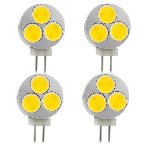 MENGS® 4 Stück G4 3W LED COB Birne Spotlight Lampe & Leuchtmittel massivem Aluminium (180LM, DC 12V, Kaltweiß 6500K, 120º Abstrahlwinkel, Ø20 x 30mm) Energiespar Licht -