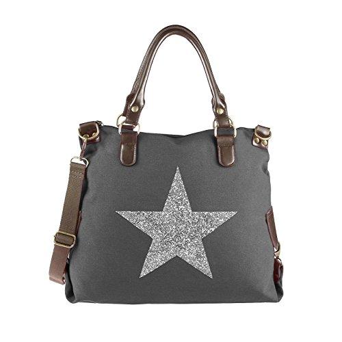 cb439b7e53d5b OBC ital-design XXL DAMEN STERN SHOPPER Tasche Canvas Schultertasche  sportliche Stofftasche CrossOver Umhängetasche Handtasche
