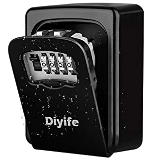 Diyife Key Lock Box, [Waterproof Version][Wall Mounted] Combination Key Safe Storage Zinc Alloy Lock Box with Slide Cover for Airbnb Home Garage School Spare House Keys, Black