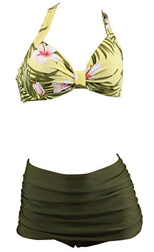 Hibiskus-bikini-top (Aloha-Beachwear Tiki Hawaii Rockabilly Flower Hibiskus Vintage Damen Bikini A10255 (XL / 44 / UK 18, Top Hawaii/Hose Grün))