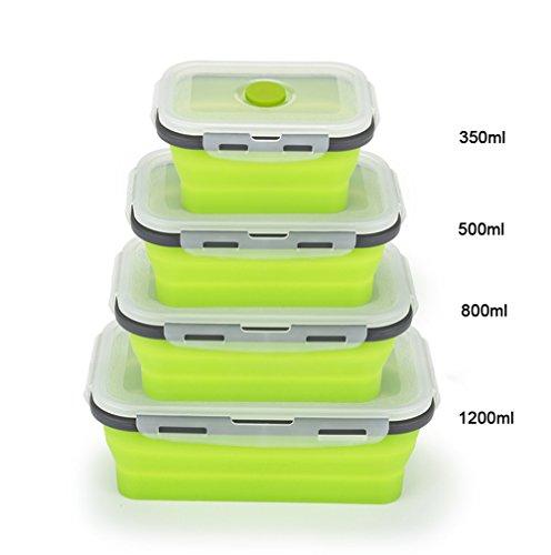 GUOYI Silikon Faltbar Essen Lager Behälter,Zusammenklappbar Mittagessen Bento Box,BPA Frei Wiederverwendbar Geschirrspüler und Gefrierschrank Sicher(1pcs 500ml) (Vakuumdichtungs-deckel)