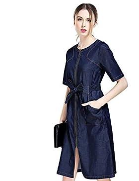 Un vestido nuevo denim el ajuste del cinturón vestido manguito receptor 2017 , denim blue , l