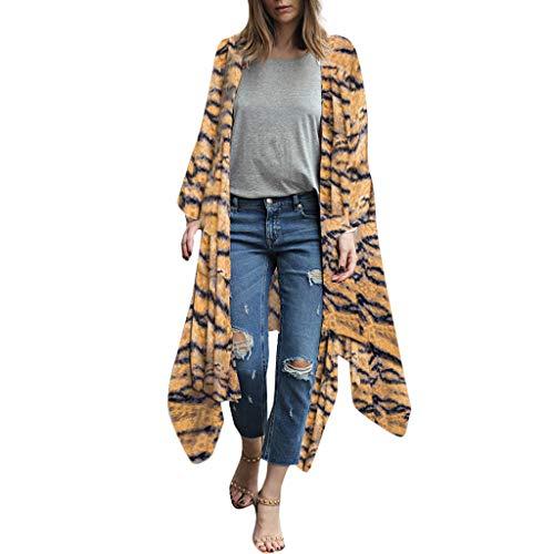 Amphia - Bedruckte Kimono Lange Strickjacke Strandbluse - Mode Frauen Chiffon Schal Print Kimono Cardigan Top Cover Up Bluse ()