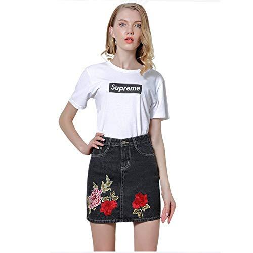 GYYWAN Hohe Taille Röcke Frauen Floral Gestickte Vintage Slim Casual Basic Short MiniSchwarz Plus Size Jeansrock Frauen -