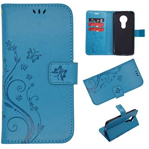 Schutzhülle für Moto G6 Play, Leder, Kartenfächer, Magnetverschluss, Klappständer, stoßfest, geprägter Schmetterling, kompatibel mit Motorola Moto G6 Play, blau