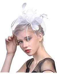 Ssowun Fletion Retro Fascia Piuma Cappello Fiore Cappelli Cerimonia Donna  Berretto di Garza Accessori per Capelli 2cff5f14a3cd