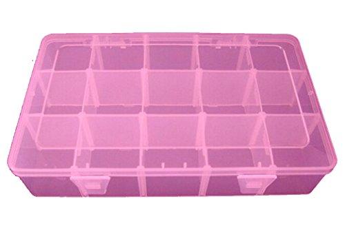 ANSIO 93935 28 x 17 x 6 cm, Mehrfarbig, Zweck 15 Fächer, Kunststoff, Verstellbar, Werkzeugkoffer, Jewelcase, Transparent/Pink