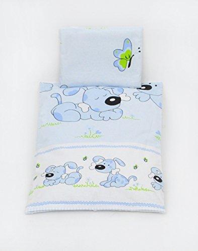 Preisvergleich Produktbild Bettwäscheset mit Decke 80x70 Bettzeug für Kinderwagen Stubenwagen Babywiege (Muster: Hund mit Knochen_puderblau)