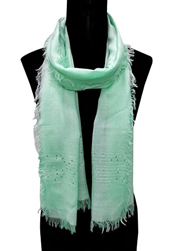 BOLLYWOOD ACCESSORY - Viscose Scarf/Stole/Dupatta with 2side Sequence work at borders (Style...