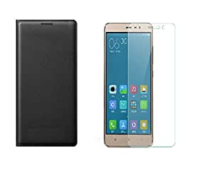 Premium Artificial leather Flip Cover for Xiaomi Redmi Note 3 - Imported Black + free tempered glass