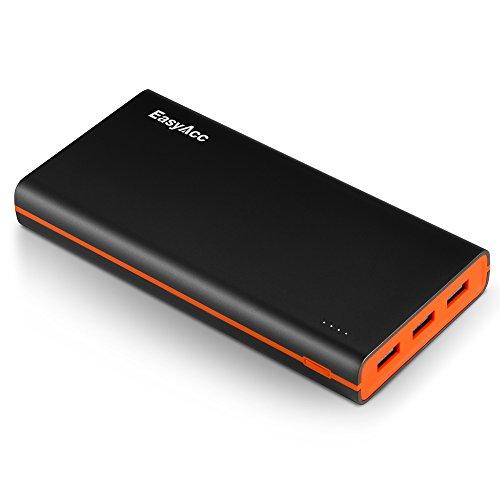 EasyAcc Smart Batterie 15000mAh Power Bank 4.8A Smart Output Externe Akku mit 3-Ports Reiseadapter für iPhone Samsung HTC Tablets - Schwarz und Orange (Iphone Ladegerät Pink 4s)