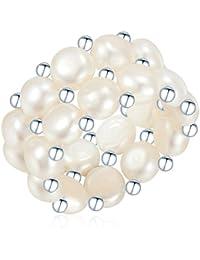 Valero Pearls Classic Collection Damen-Ring elastisch Hochwertige Süßwasser-Zuchtperlen in ca. 4-5 mmButton 925 Sterling Silber 60840021