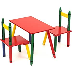 bebe style childrens crayon themed wooden table and chair set baby. Black Bedroom Furniture Sets. Home Design Ideas