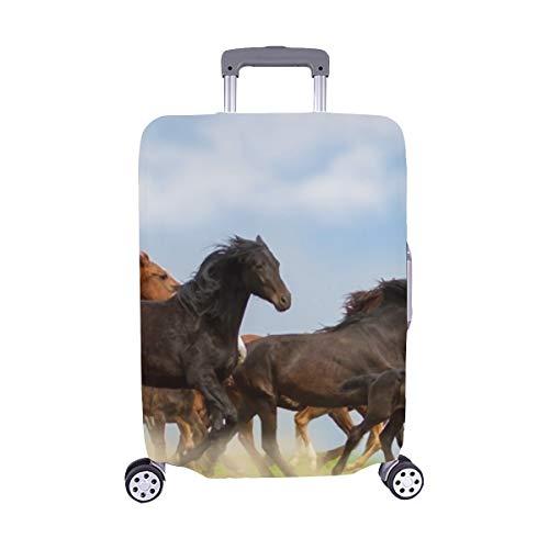 Spandex-rennen (Pferdeherde gegen Weidelandschaft gegen Spandex-Trolley Reise-Gepäckschutzkoffer-Abdeckung 28,5 x 20,5 Zoll)