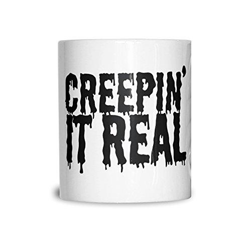 Neuheit Halloween Keramikbecher Creepin' It Real-Witz White ()