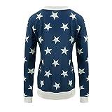 iHENGH Karnevalsaktion Weihnachten Damen Womens Casual Long Sleeve Stern gedruckt Pullover Sweatshirts Tunika Bluse Tops(M,Blau)