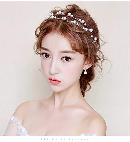 Q_xnts Braut Haarschmuck Braut-Tiara koreanische Stil Stirnband Nachahmung Perle Zubehör Hochzeit...