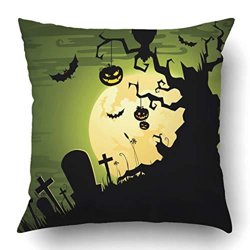RAINNY Throw Pillow Covers Green Spooky Greenish Halloween Black Creepy Scary Landscape Tree Owl Cemetery Silhouette Polyester Square Hidden Zipper Decorative Pillowcase 18x18 inch