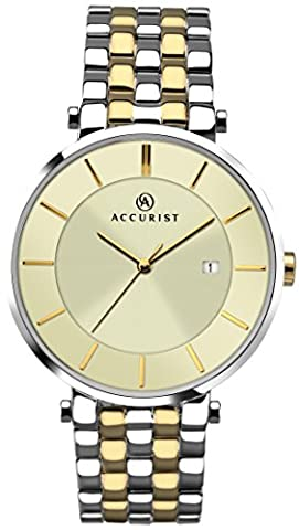 Accurist Men's Quartz Watch with Beige Dial Analogue Display and Two Tone Bracelet 7089.01